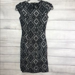H&M - Geometric Black and White, Sheath Dress